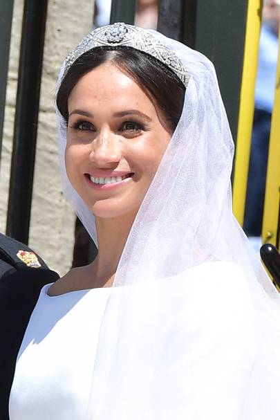 The Duchess of Sussex wearing Queen Mary's diamond bandeau tiara
