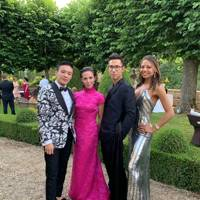 Jonathan Cheung, Victoria Tang-Owen, Ed Tang and Viscountess Weymouth at at Ed Tang and John Auerbach's wedding, July 2019
