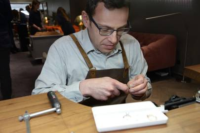 A ring setter at work in the store