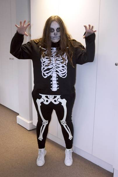 Fashion assistant Lucinda Turner as a skeleton