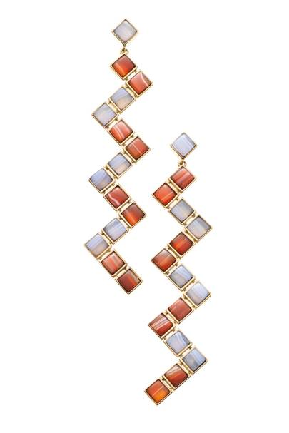 Gold, carnelian and chalcedony earrings, POA, by Tiffany & Co