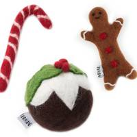 Festive wool dog-toy set