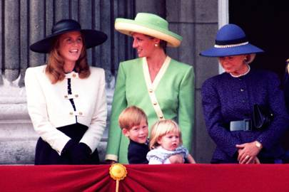 Sarah, the Duchess of York, Diana, Princess of Wales, Prince Harry, Princess Beatrice and the Duchess of Kent