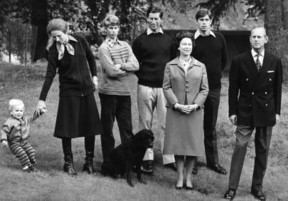 Master Peter Phillips, Princess Anne, Prince Edward, Prince Charles, the Queen, Prince Andrew and Prince Philip, 1979