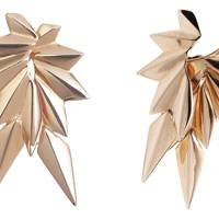 Rose-gold-plated earrings, £73; rose-gold-plated earring backs, £73, both by Maria Black