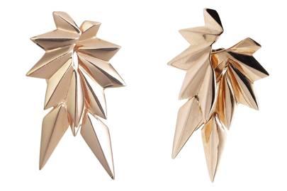 Rose-gold-plated earrings, £73; rose-gold-plated earring backs, £73, both by Maria Black