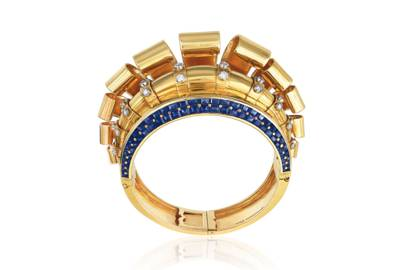 Retro sapphire-and-diamond bangle by Boucheron