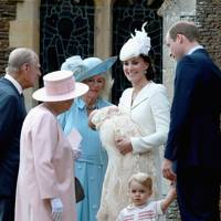 The Duke of Edinburgh, The Queen, The Duchess of Cornwall, The Duchess of Cambridge, Princess Charlotte, Prince George and The Duke of Cambridge