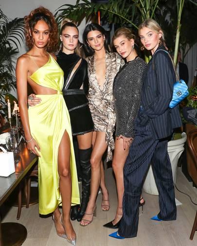 Joan Smalls, Cara Delevingne, Kendall Jenner, Hailey Bieber and Elsa Hosk