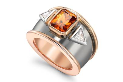 Garnet, diamond and rose gold ring, £14,750, Theo Fennell