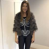 Francesca White as a cold skeleton in winter
