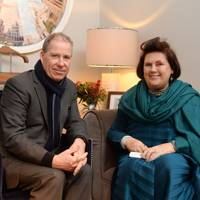 Viscount Linley and Suzy Menkes