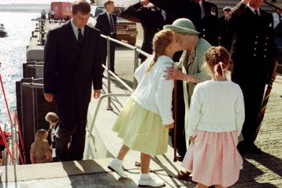 The Duke of York, Princess Beatrice, the Queen Mother and Princess Eugenie