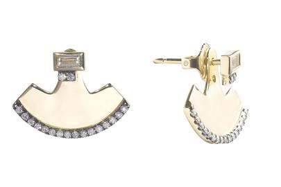 Gold, diamond & blackened-pave diamond earrings, £3,182, by Jemma Wynne