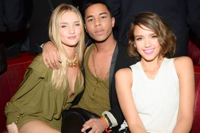 Rosie Huntington-Whiteley, Olivier Rousteing and Jessica Alba