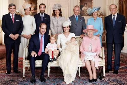 Michael Middleton, Pippa Middleton, The Duke of Cambridge, Prince George, James Middleton, Carole Middleton, The Duchess of Cambridge, Princess Charlotte, The Prince of Wales, The Queen, The Duchess of Cornwall and The Duke of Edinburgh
