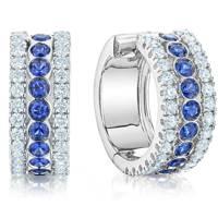 Birks Splash diamond and sapphire hoop earrings