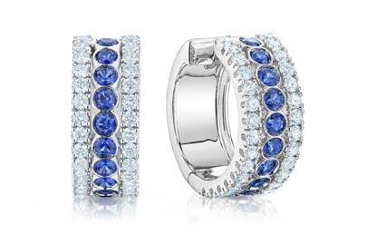 Birks Splash diamond and sapphire hoop earrings