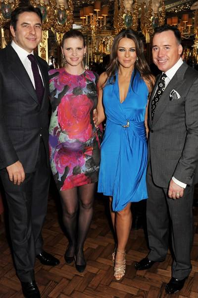 David Walliams, Lara Stone, Elizabeth Hurley and David Furnish