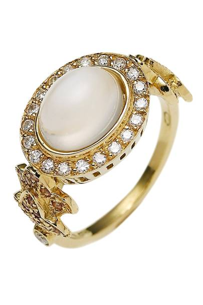 Gold, diamond, pink-topaz & moonstone ring, £2,490, by Sabine G, at Matchesfashion.com