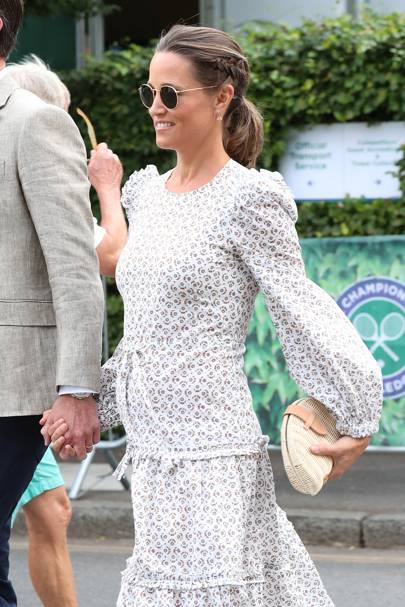 Pippa Middleton wears a long sleeve Anna Mason London dress, at day 11 of the Wimbledon Tennis Championships