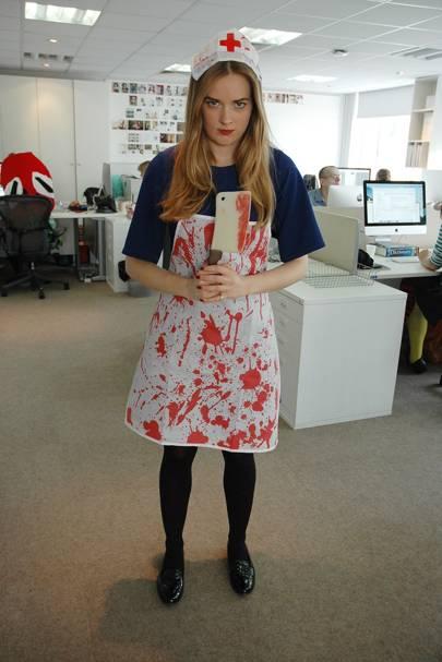 Teddy Wolstenholme as a zombie nurse