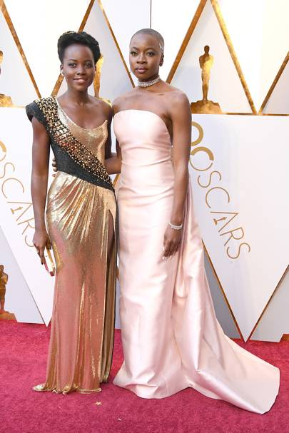 Lupita Nyong'o in Atelier Versace and Danai Gurira in Gabriela Hearst