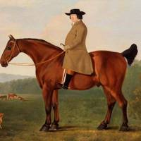 Stockbreeder Robert Bakewell with horse, terrier and Longhorn cattle, by John Boultbee c. 1788