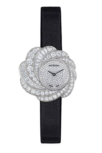 White-gold, diamond and satin watch, POA, by De Beers