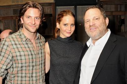 Bradley Cooper, Jennifer Lawrence and Harvey Weinstein