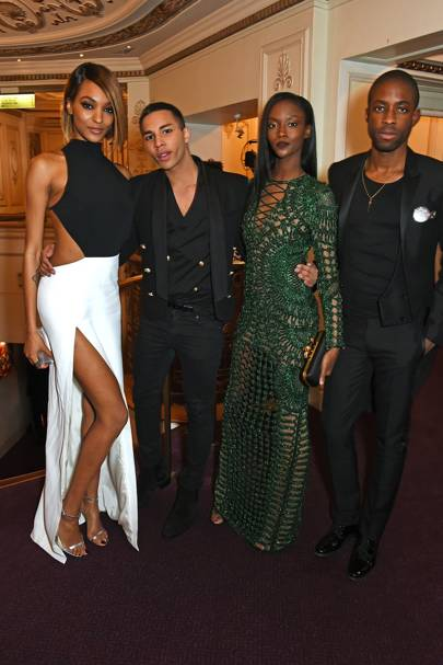 Jourdan Dunn, Oliver Rousteing, Riley Montana and Emmanuel Ezugwu