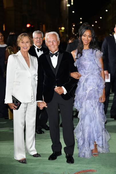 Lauren Hutton, Giorgio Armani and Zoe Saldana