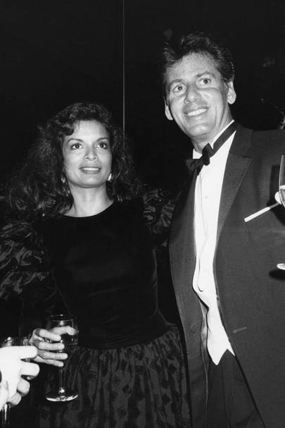Bianca Jagger and Calvin Klein