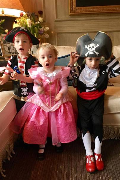Hector Grimston as Captain Hector Barbossa, Ophelia Grimston as Sleeping Beauty and Lorcan Grimston as Captain Jack Sparrow