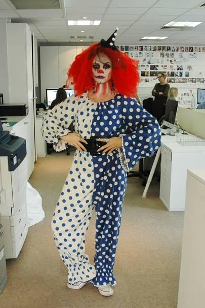 Clare Bennett as an evil clown