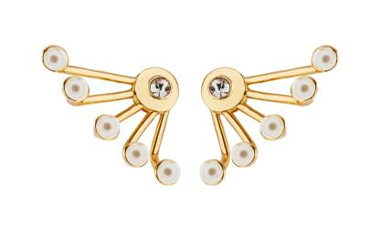 Gold-plated brass & pearl earrings, £180, by Ca & Lou