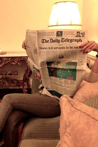An after-breakfast Telegraph-reading session