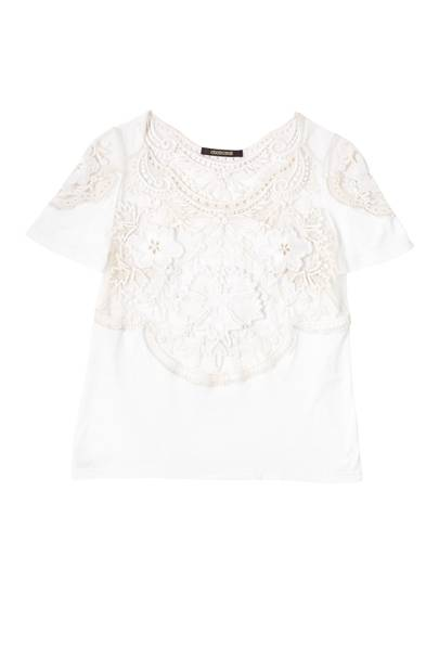 Cotton & lace T-shirt, £2,040, by Roberto Cavalli