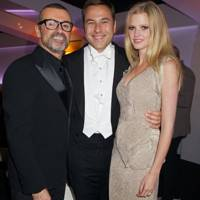 George Michael, David Walliams and Lara Stone