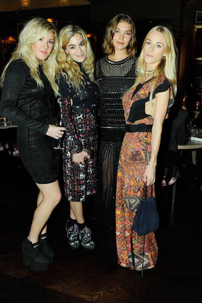 Ellie Goulding, Chelsea Leyland, Arizona Muse and Mary Charteris