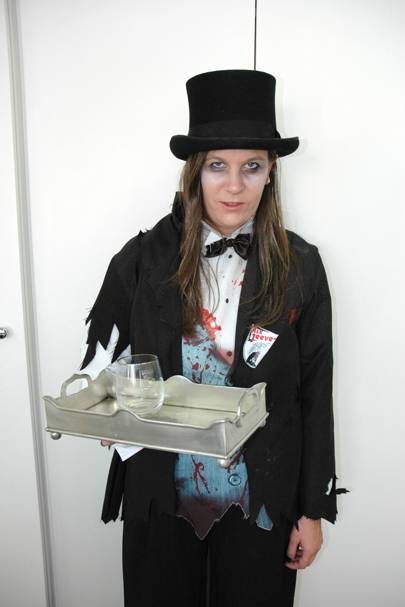 Stacey McKenna as a zombie butler