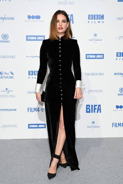 Lily James wearing Alessandra Rich to the British Independent Film Awards 2019