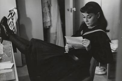 Audrey in her dressing room during her appearance in Gigi, 1951
