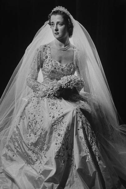 The Hon. Franches Roche (later Shand Kydd) on her wedding day to Viscount Althorp, 1954