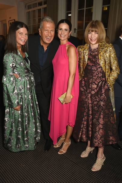 Dame Natalie Massenet, Mario Testino, Livia Firth and Anna Wintour
