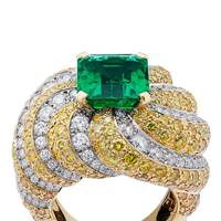 Gold, diamond, yellow-diamond & emerald ring, POA, by Van Cleef & Arpels