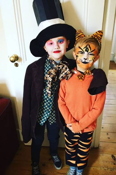 Noah Houlton and Finley Houlton as the Mad Hatter and the Tiger Who Came to Tea