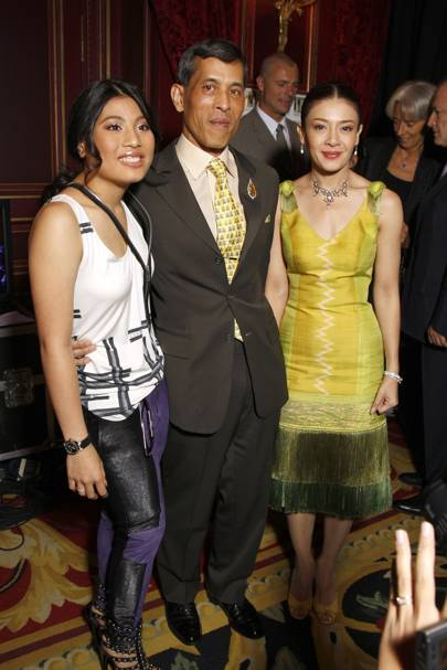 Prince Maha Vajiralongkorn with Princesses Sirivannavari Nariratana and Sirivannavari Nariratanais of Thailand, 2008