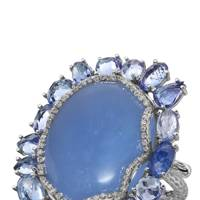 White-gold, diamond, sapphire & chalcedony ring, £9,130, by Nina Runsdorf