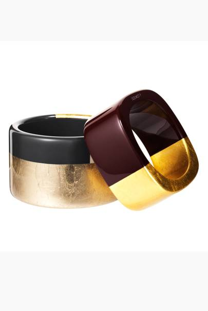 Wood and gold cuff, £335, wood cuff, £245, both Hermes